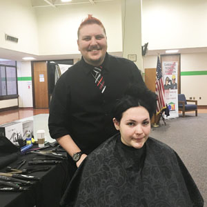 Hairdresser with student
